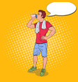 pop art young man drinking protein shake vector image vector image