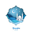ramadan kareem with arabic origami mosque vector image