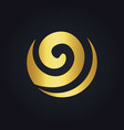 Round curl wave ecology abstract gold logo vector image