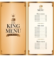 royal king menu and Price vector image vector image