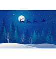 Santa sleigh above forest vector image