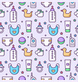 seamless childrens pattern on a light flat line vector image