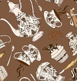 seamless pattern coffee service vector image