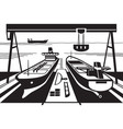 shipyard with docks and cranes vector image