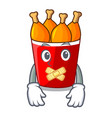 silent fried chicken bucket isolated on mascot vector image vector image