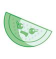 silhouette kawaii cute happy apple fruit vector image vector image