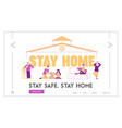 stay home self isolation landing page template vector image