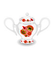 sugar bowl with khokhloma ornament vector image