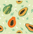 summer pattern with papaya vector image vector image