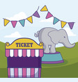 tent sale ticket with elephant and garlands vector image vector image
