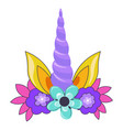 unicorn horn with ears and decorative foliage vector image
