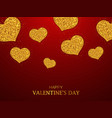 valentines day background gold glitter hearts vector image