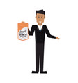 veterinarian with cat bag food domestic vector image vector image