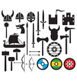 Viking icon set vector image