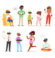 virtual reality people in vr character vector image