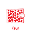 Wallet with hearts inside Card vector image