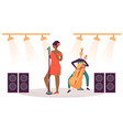 woman singing on stage musician playing cello vector image