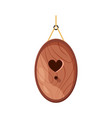 wooden handmade bird house oval shape and heart vector image vector image
