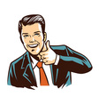 retro man in black suit thumb up vector image
