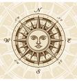 Vintage sun compass rose vector image