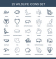 25 wildlife icons vector image vector image