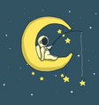baby astronaut catches stars on crescent moon