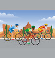 bicycle race in road with desert background vector image vector image