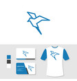 bird logo design with business card and t shirt vector image vector image