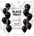 black friday sale banner shiny black balloons on vector image vector image