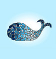 blue abstract whale shape on a blue background vector image