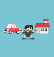 businesswoman who is carrying home and car vector image