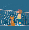 child and cat vector image