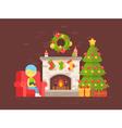 christmas fireplace girl vector image vector image
