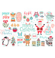 christmas set hand drawn style - calligraphy vector image vector image