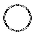 circle frame of simple greek pattern black vector image vector image