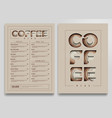 coffee shop menu template vector image vector image