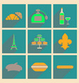 concept of flat icons with long shadow paris vector image vector image