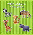 cute cartoon wild animals on stick vector image