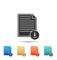 document with download sign file document symbol vector image vector image
