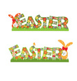 Easter flowers text and rabbits vector image vector image