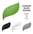 eco leaf icon in outline style isolated on white vector image vector image