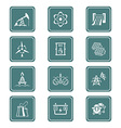 Energy icons - TEAL series vector image vector image