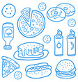 fast food collection of doodles vector image vector image