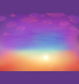 foggy cloudy sky in magic sunset colors vector image