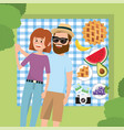 fun woman and man couple in the tablecloth vector image