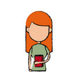 girl school student cartoon young holding red book vector image