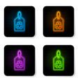 glowing neon tag with recycle symbol icon vector image