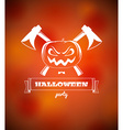 Halloween poster with pumpkin and axes vector image