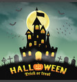 halloween silhouette castle in a night graveyard vector image vector image