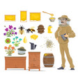 honey bee honeycomb beehive and beekeeper icon vector image
